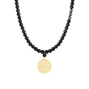 گردنبند طلا- ارسال هدیه به تهران- ارسال هدیه به ایران- گردنبند طلا مردانه- گردنبند طلا و سنگ اونیکس - ولنتاین- سالگرد ازدواج